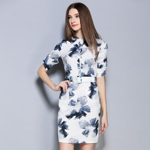 Retro ink style three quarter sleeves office lady dress