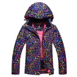 Multi color polka dot print snowboard and ski jacket (2 colorways)