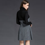Wool knitted turtleneck patchwork dress