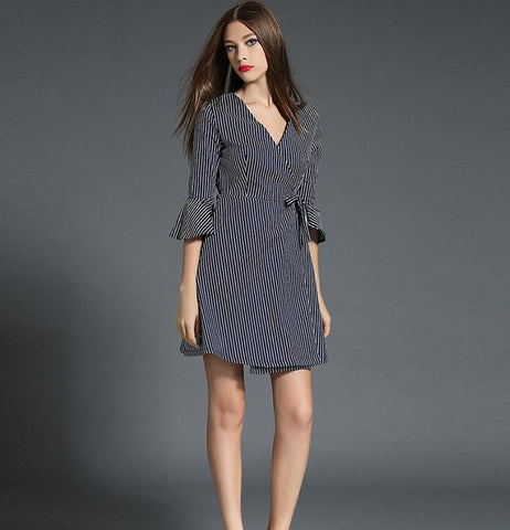 V-neck flare sleeve striped high waist shirt dress