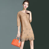 Three quarter sleeves suede dress with tassel (2 colorways)