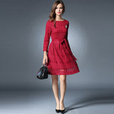 O-neck long sleeves lace dress with waist ribbon (3 colorways)