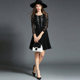 See through lace long sleeves slim dress