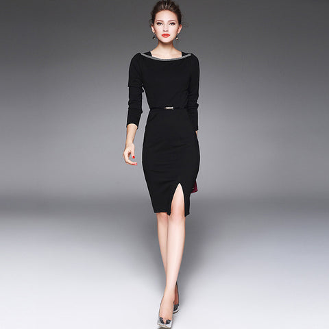 Slim business dress with shoulder line beads applique (2 colorways)