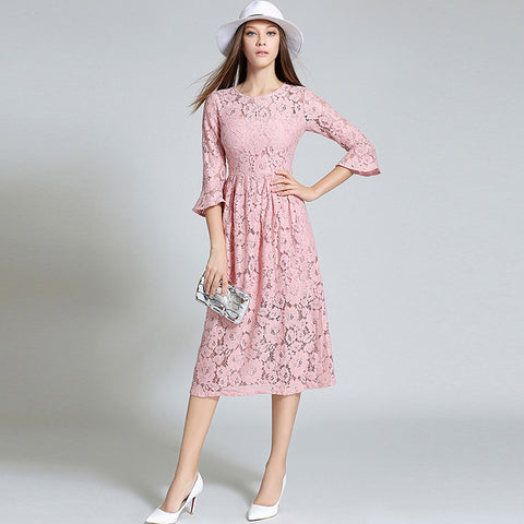 Three quarter and hollow out sleeves long lace dress (2 colorways)