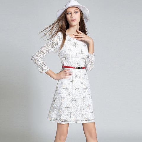 Three quarter sleeves lace printing dress with belt