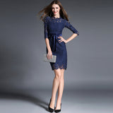 Ladies slim lace dress with waist ribbon (2 colorways)