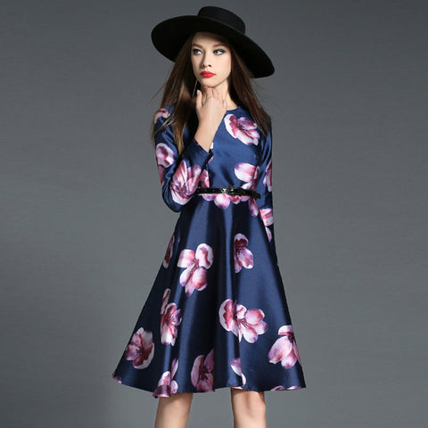 Retro style flower print pendulum high waist dress