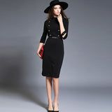 Slim waist office lady dress with belt (2 colorways)