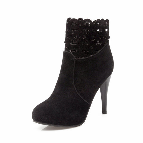 Laser cut out mid-calf suede boots (3 colorways)