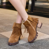 Platform thick heel ankle boots with tassels (3 colorways)