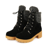 Flocked leather lace up platformed thick heels plush fur boots (3 colorways)