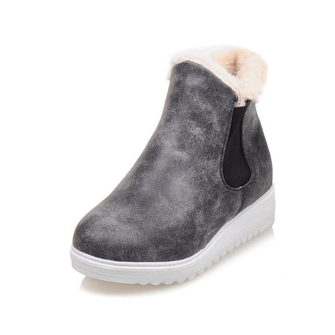 Suede short sneaker boots with plush fur (3 colorways)