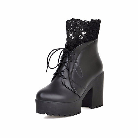 Thick heels high platform lace up short boots (3 colorways)