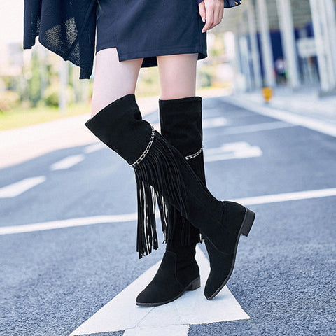 Suede leather thick heels long boots with tassels (3 colorways)