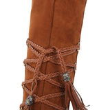 Soft leather long boots with lace tassels (3 colorways)