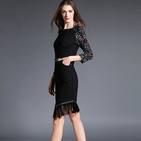 Vintage style asymmetrical suede dress with tassels hem
