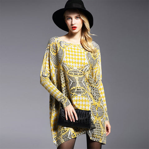 Printed kaleidoscope pattern loose sweater dress