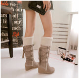 Suede leather back lace up midcalf boots with plush fur (3 colorways)