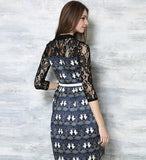 Vintage print half sleeves patchwork lace casual dress