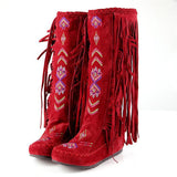 Ethic style embroidered flocked leather long boots with tassels (4 colorways)