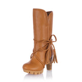 Soft PU leather mid-calf high heels platform boots (3 colorways)