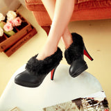 White fur ankle Winter boots