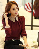 Ladies chiffon blouse top with peter pan collar (3 colorways)