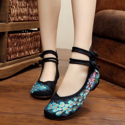 707fff09bab Chinese style button strap with peacock embroidered soft sole ballet ...