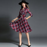 Three quarter sleeves printed plaid long slim dress