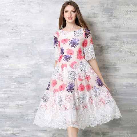 Flower Printed with patchwork and lace Summer chiffon long dress