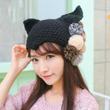 Cute beanie with cat ears and pom pom balls
