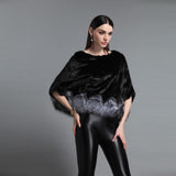 Real mink fur poncho with real fox fur hem