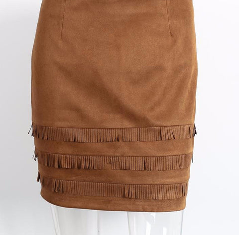 Retro style suede leather high waist mini skirt with tassels