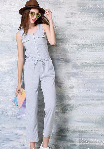 Sleeveless causal ladies rope tie jumpsuit