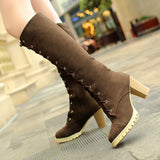 Mid-calf suede thick heels boots (3 colorways)