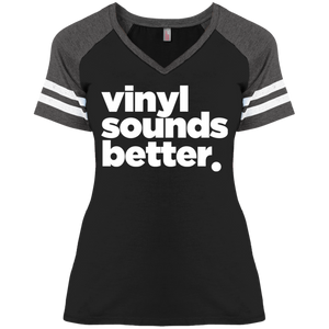Vinyl Sounds Better District Ladies' Game V-Neck T-Shirt