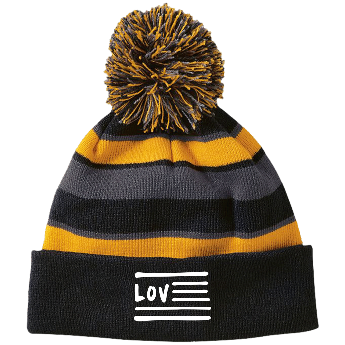 Love Nation Holloway Striped Beanie with Pom