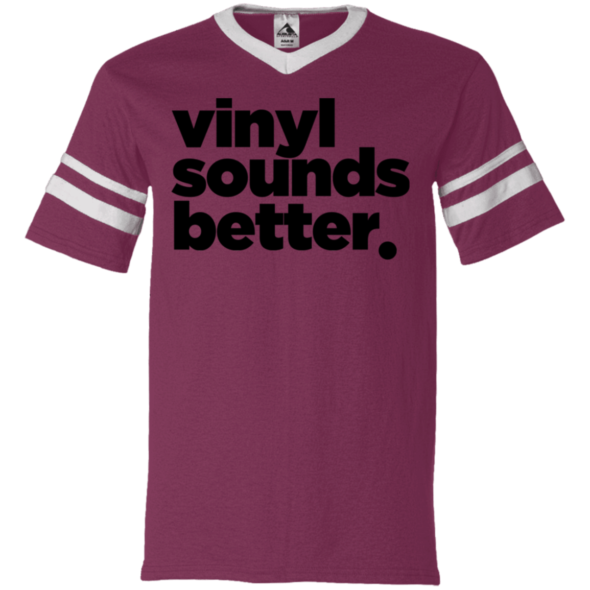 Vinyl Sounds Better V-Neck Sleeve Stripe Jersey
