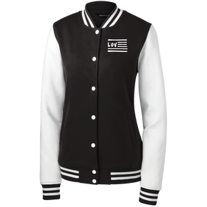 Love Nation Sport-Tek Women's Fleece Letterman Jacket - Vinyl Clothing Co - DJ Apparel Clothing Disc Jockey Vinyl Gear