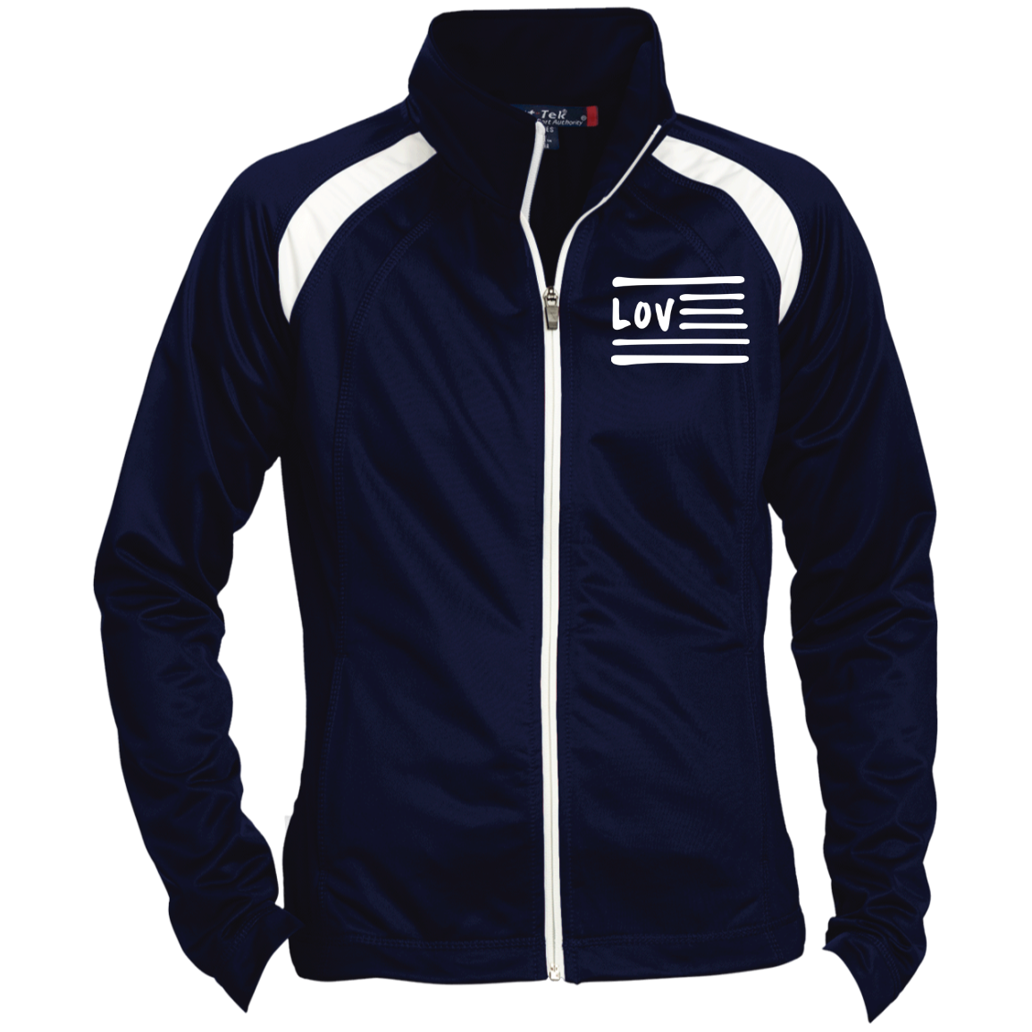 Love Nation Sport-Tek Ladies' Raglan Sleeve Warmup Jacket - Vinyl Clothing Co - DJ Apparel Clothing Disc Jockey Vinyl Gear