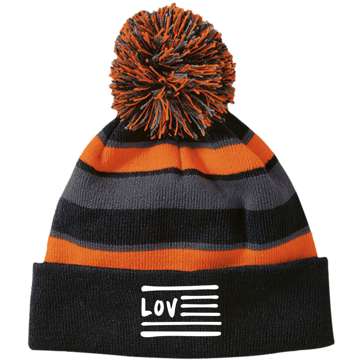 Love Nation Holloway Striped Beanie with Pom - Vinyl Clothing Co - DJ Apparel Clothing Disc Jockey Vinyl Gear