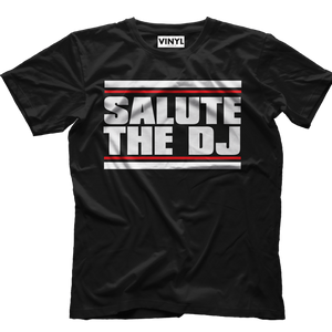 Salute The DJ T-Shirt (Black) - Vinyl Clothing Co - DJ Apparel Clothing Disc Jockey Vinyl Gear