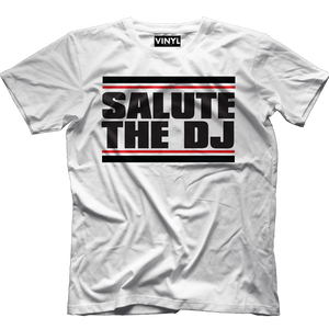 Salute The DJ T-Shirt (White) - Vinyl Clothing Co - DJ Apparel Clothing Disc Jockey Vinyl Gear