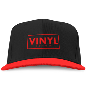 Vinyl Clothing Co Snapback Hat - Black/Red - Vinyl Clothing Co - DJ Apparel Clothing Disc Jockey Vinyl Gear