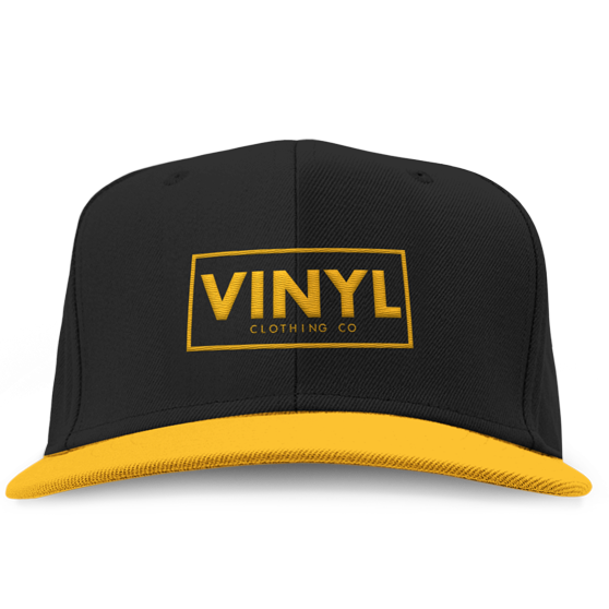 Vinyl Clothing Co Snapback Hat - Black/Gold - Vinyl Clothing Co - DJ Apparel Clothing Disc Jockey Vinyl Gear