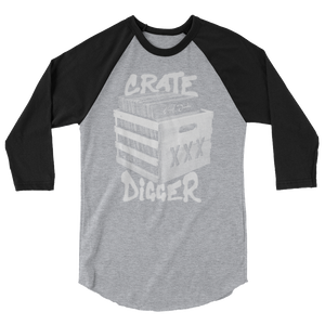 Crate Digger 3/4 Sleeve Raglan Shirt - Vinyl Clothing Co - DJ Apparel Clothing Disc Jockey Vinyl Gear