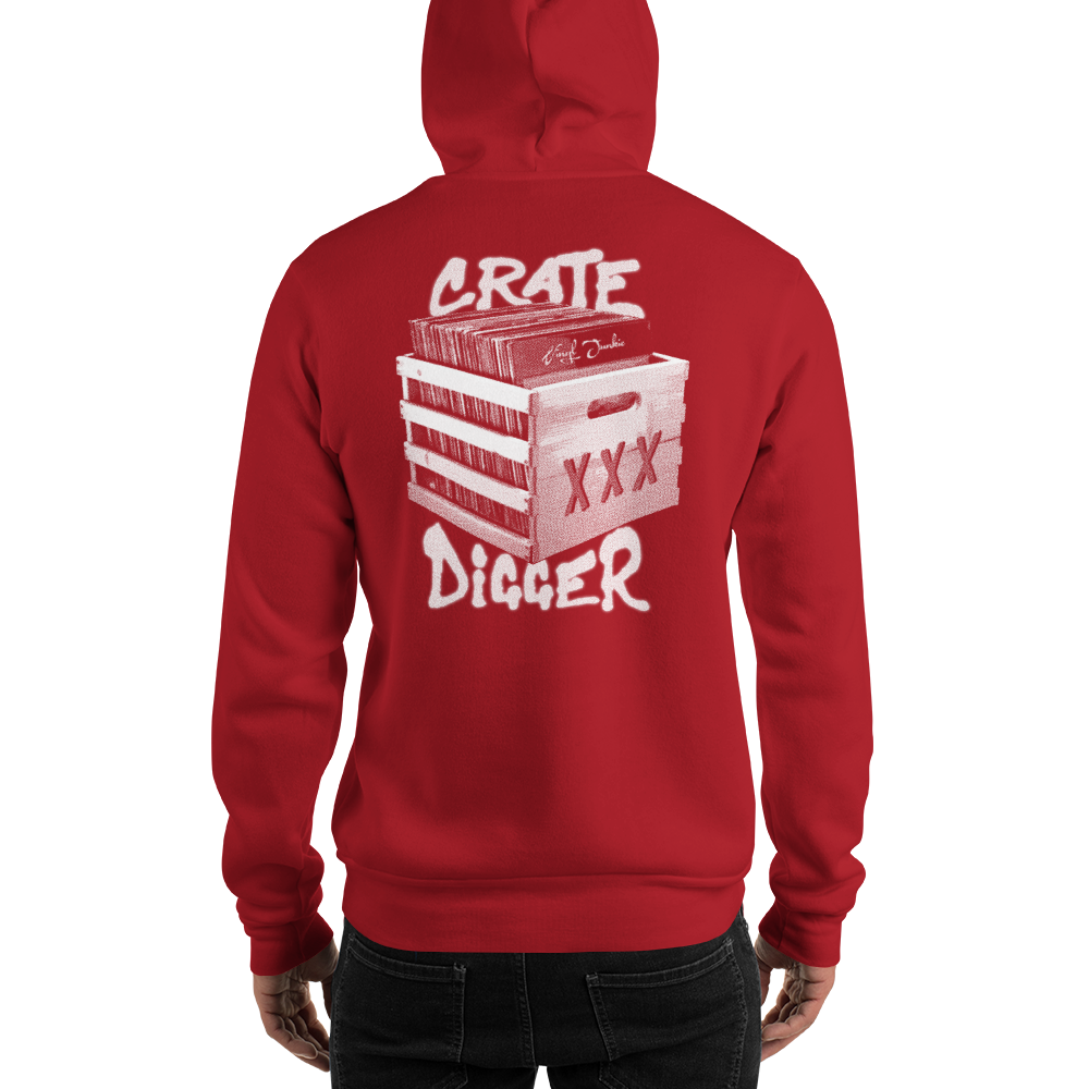 Crate Digger (Back) Hoodie - Vinyl Clothing Co - DJ Apparel Clothing Disc Jockey Vinyl Gear
