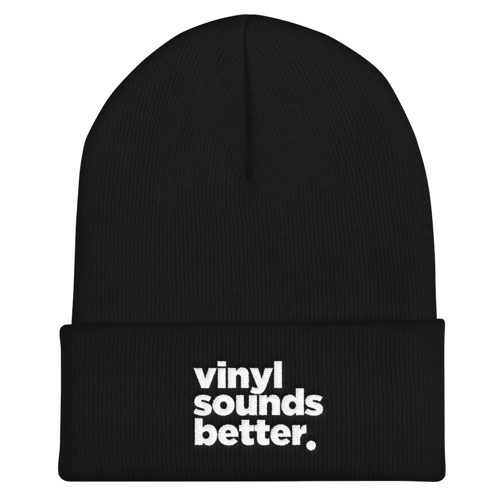 Vinyl Sounds Better Cuffed Beanie - Vinyl Clothing Co - DJ Apparel Clothing Disc Jockey Vinyl Gear