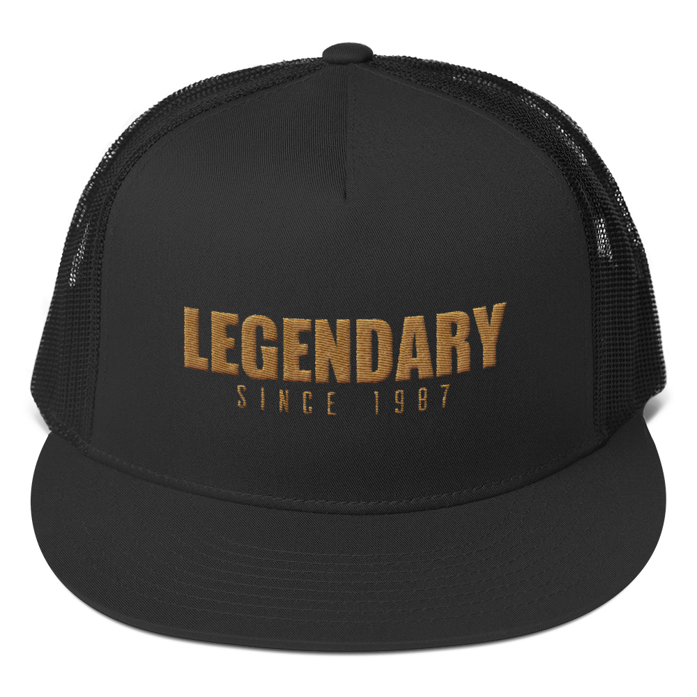 Legendary Since 1987 Trucker Cap (Year Customizable) - Vinyl Clothing Co - DJ Apparel Clothing Disc Jockey Vinyl Gear